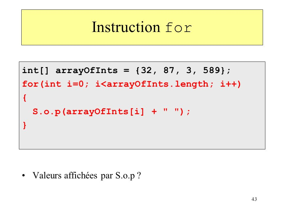 Instruction for int[] arrayOfInts = {32, 87, 3, 589};